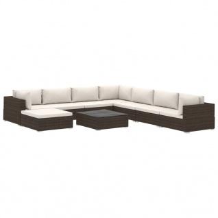 vidaXL 9-tlg. Garten-Lounge-Set mit Auflagen Poly Rattan Braun - Vorschau 2