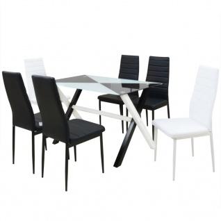 vidaXL 7-tlg. Essgruppe Esstisch und Stühle Kunstleder