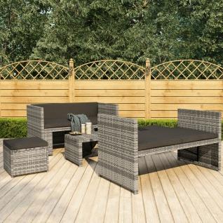 vidaXL 5-tlg. Garten-Lounge-Set mit Auflagen Poly Rattan Grau - Vorschau 1