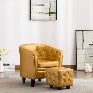 vidaXL Sessel mit Fußhocker Golden Kunstleder