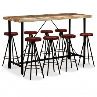 vidaXL Bar-Set 9-tlg. Altholz Massiv und Echtleder