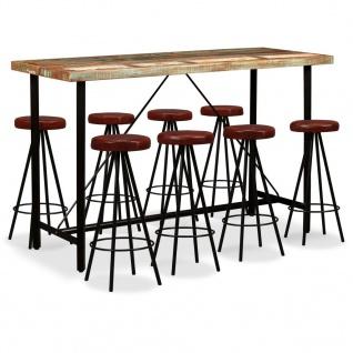 vidaXL Bar-Set 9-tlg. Massives Altholz und Echtleder