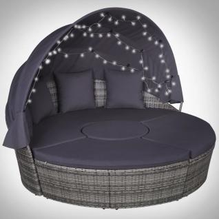 vidaXL Garten-Lounge-Set 4-tlg. mit Polstern & LEDs Poly Rattan Grau