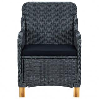 vidaXL 3-tlg. Garten-Lounge-Set mit Auflagen Poly Rattan Dunkelgrau - Vorschau 5