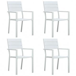 vidaXL Gartenstühle 4 Stk. Weiß HDPE Holz-Optik