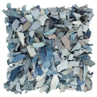 vidaXL Kissen Denim Hochflor Blau 60 x 60 cm Leder und Baumwolle
