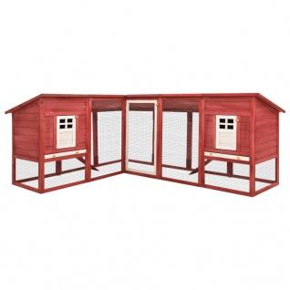vidaXL Kaninchenstall mit Freilauf Rot und Weiß Tanne Massivholz