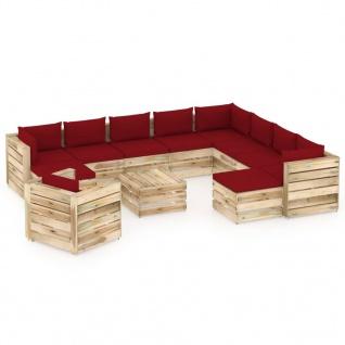 vidaXL 12-tlg. Garten-Lounge-Set mit Kissen Grün Imprägniertes Holz