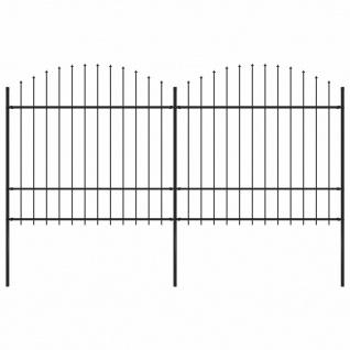 vidaXL Gartenzaun mit Speerspitzen (1, 5 - 1, 75) x 3, 4 m Stahl Schwarz