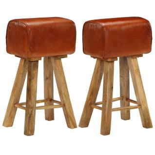 vidaXL Barstühle 2 Stk. Echtleder und Mango-Massivholz
