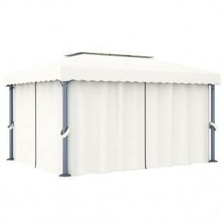 vidaXL Pavillon mit Vorhang 4x3 m Cremeweiß Aluminium