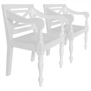vidaXL Batavia-Stühle 2 Stk. Mahagoni Massivholz Weiß