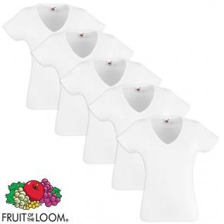 Fruit of the Loom Damen Valueweight T-Shirt 5 Stk V-Ausschnitt Weiß M