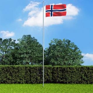 vidaXL Flagge Norwegens und Mast Aluminium 6, 2 m