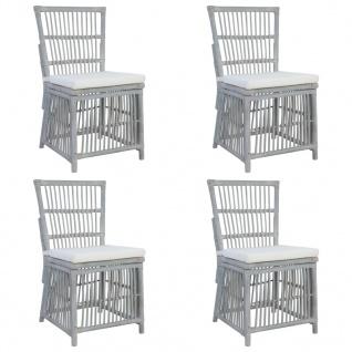 vidaXL Esszimmerstühle mit Kissen 4 Stk. Grau Natur Rattan