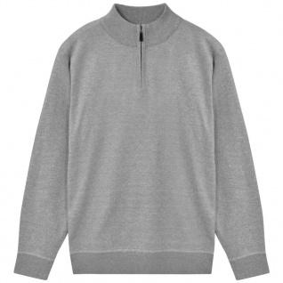 vidaXL Herren Pullover Sweater mit Reißverschluss Grau XL