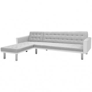 vidaXL Ecksofabett Stoff 218 x 155 x 69 cm Weiß und Grau
