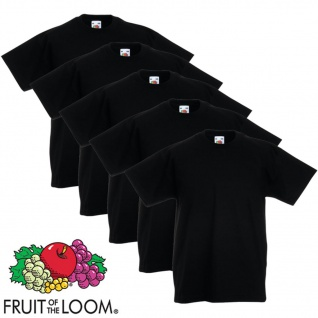 5xFruit of the Loom Original Kinder-T-Shirt 100% Baumwolle Schwarz 140