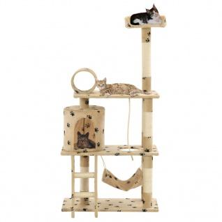 vidaXL Katzen-Kratzbaum Sisal 140 cm Beige Pfoten-Aufdruck