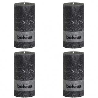 Bolsius Rustikale Stumpenkerzen 4 Stk. 200 x 100 mm Dunkelgrau
