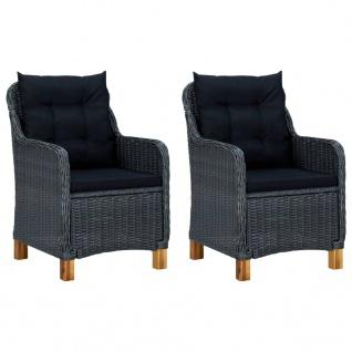 vidaXL 3-tlg. Garten-Lounge-Set mit Auflagen Poly Rattan Dunkelgrau - Vorschau 2