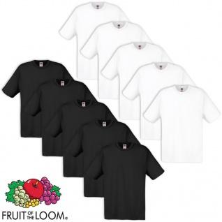 10 x Fruit of the Loom Original T-Shirt 100% Baumwolle Weiß/ Schwarz S