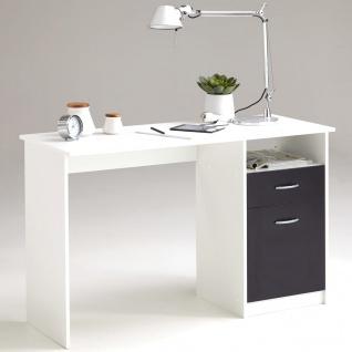 FMD Schreibtisch mit 1 Schublade 123x50x76, 5 cm Weiß/Schwarz 3004-001