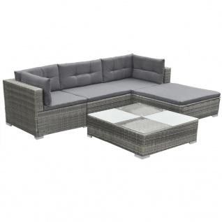 vidaXL 5-tlg. Garten-Lounge-Set mit Auflagen Poly Rattan Grau - Vorschau 3