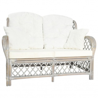 vidaXL 2-Sitzer-Sofa Grau Rattan