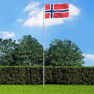 vidaXL Flagge Norwegens und Mast Aluminium 6 m