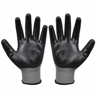 vidaXL Arbeitshandschuhe Nitril 24 Paar grau und schwarz Gr. 9/L - Vorschau 2