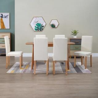 vidaXL Esszimmerstühle 6 Stk. Cremeweiß Kunstleder