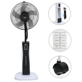 vidaXL Sprühnebel-Standventilator mit Fernbedienung Schwarz und Weiß