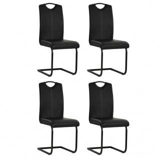vidaXL Esszimmerstühle 4 Stk. Kunstleder 43 x 55 x 100 cm Schwarz