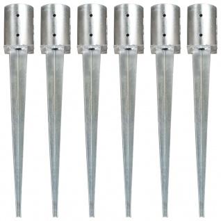 vidaXL Erdspieße 6 Stk. Silbern 10x76 cm Verzinkter Stahl