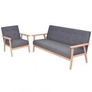vidaXL Sofa-Set 2-tlg. Stoff Dunkelgrau