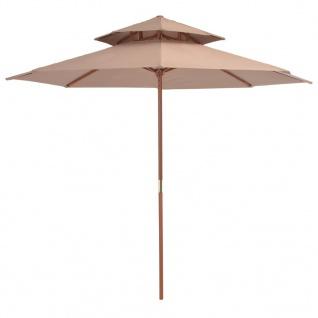 vidaXL Sonnenschirm mit Doppeldach und Holzstange 270 cm Taupe