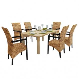 vidaXL Esszimmerstühle 6 Stk. Abaca und Mango Massivholz