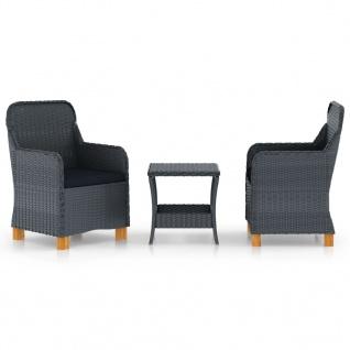 vidaXL 3-tlg. Garten-Lounge-Set mit Auflagen Poly Rattan Dunkelgrau