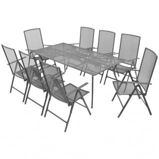 vidaXL Garten-Essgruppe Verstellbar 9-tlg. Stahlgewebe