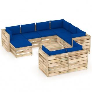 vidaXL 10-tlg. Garten-Lounge-Set mit Kissen Grün Imprägniertes Holz