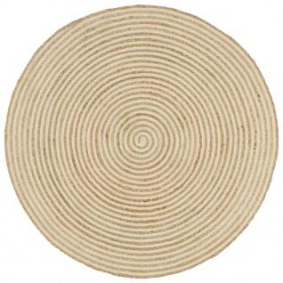 vidaXL Teppich Handgefertigt Jute mit Spiralen-Design Weiß 120 cm