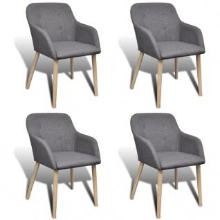 vidaXL Esszimmerstühle 4 Stk. Hellgrau Stoff und Massivholz Eiche