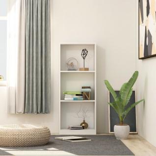 vidaXL Bücherregal 3 Fächer Weiß 40 x 24 x 108 cm Spanplatte