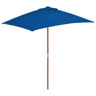 vidaXL Sonnenschirm mit Holzmast Blau 150x200 cm
