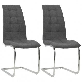 vidaXL Esszimmerstühle 2 Stk. Stoff 42, 5×61×104, 5 cm Dunkelgrau