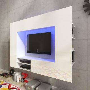 Hochglanz Mediawand Wohnwand LED TV-Wand weiß 169, 2 cm