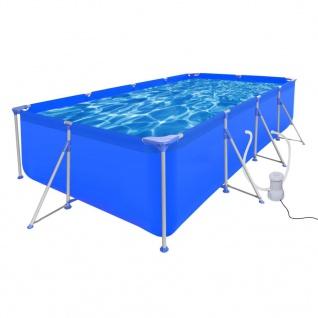 Schwimmbad Pool Rechteckig 394 x 207 x 80 cm + Pumpe