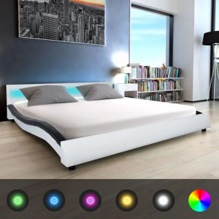 vidaXL LED Bett & Schaumstoff-Matratze mit Formgedächtnis Kunstleder 180 cm Weiß Schwarz