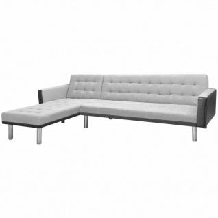 vidaXL Ecksofabett Stoff 218 x 155 x 69 cm Schwarz und Grau